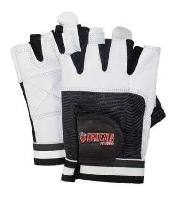 GRIZZLY PAWS WHITE LEATHER GLOVES SIZE-SMALL