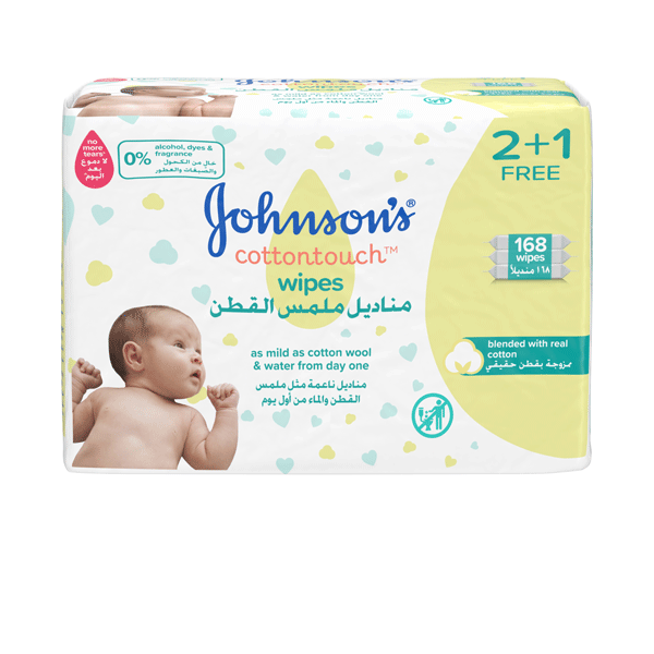 JOHNSON'S COTTON TOUCH WIPES (2+1) 168 WIPES