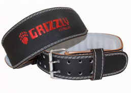 Grizzly Fitness Enforcer Padded Genuine Leather Pro Weight Belt for Men and Women. (SMALL)